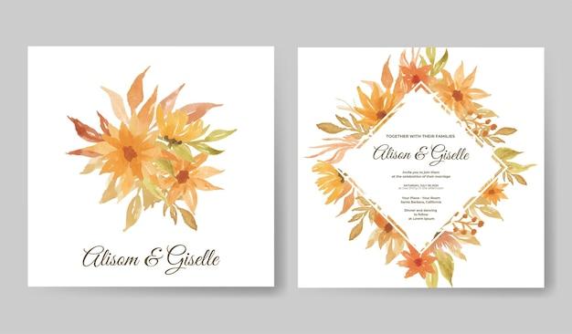 Элегантное свадебное приглашение с красивым акварельным цветочным шаблоном