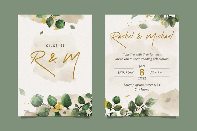 Elegant wedding invitation with beautiful watercolor leaves