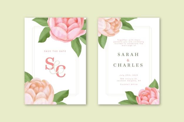 Elegant wedding invitation with big flower