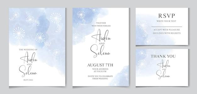 Элегантное свадебное приглашение с синим акварельным всплеском