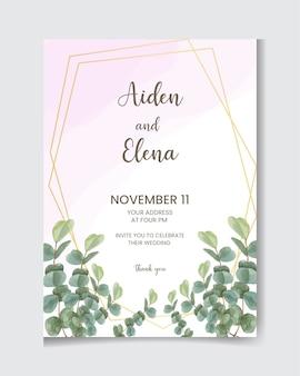 Элегантное свадебное приглашение с листьями эвкалипта