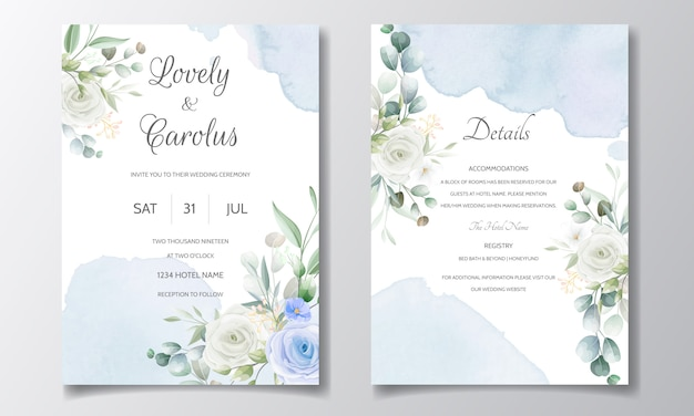 Elegant wedding invitation with floral frame