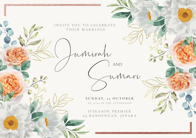 Elegant wedding invitation with floral watercolor backgroud