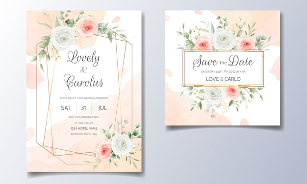 Elegant wedding invitation with floral watercolor background