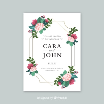 Elegant wedding invitation with flowers template