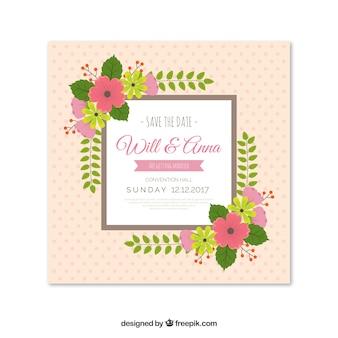 Elegant wedding invitation with flowers