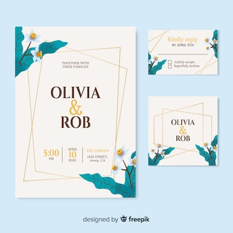 Elegant wedding invitation with flowers