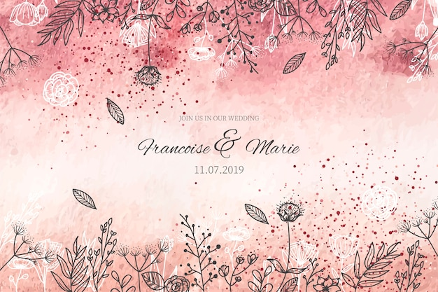 Elegant wedding invitation with golden background