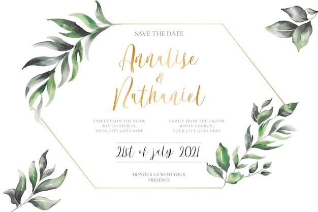 Elegant wedding invitation with golden frame