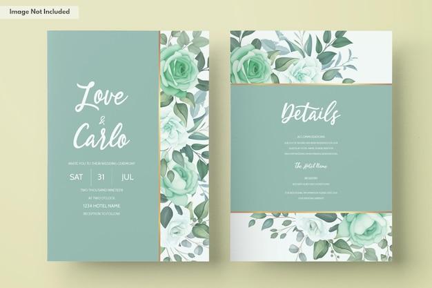 緑の花と葉のエレガントな結婚式の招待状