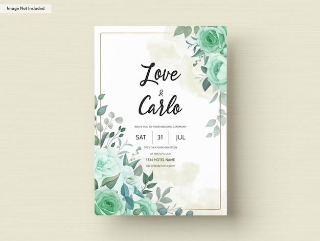 Элегантное свадебное приглашение с зелеными цветами и листьями