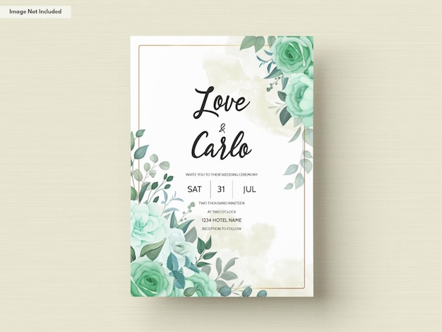 Elegant wedding invitation with greenery flower and leaves