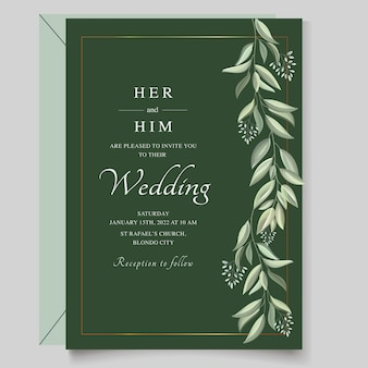 緑の葉とエレガントな結婚式の招待状