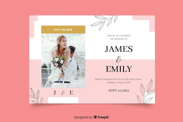 Elegant wedding invitation with groom and bride