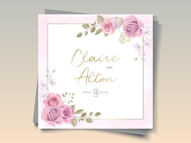 手描きの花をテーマにしたエレガントな結婚式の招待状