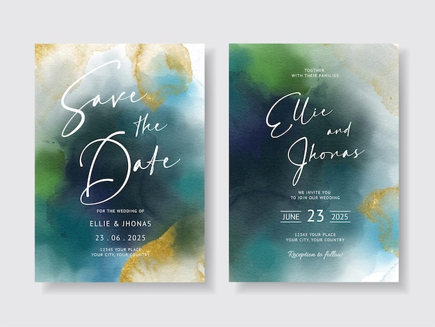 手描きの水彩画とエレガントな結婚式の招待状