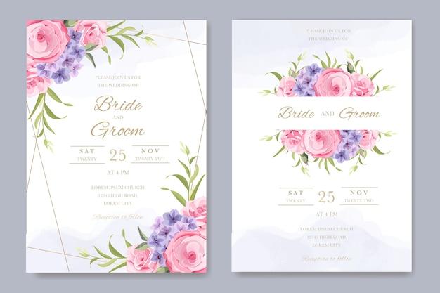 アジサイの花の花束とエレガントな結婚式の招待状
