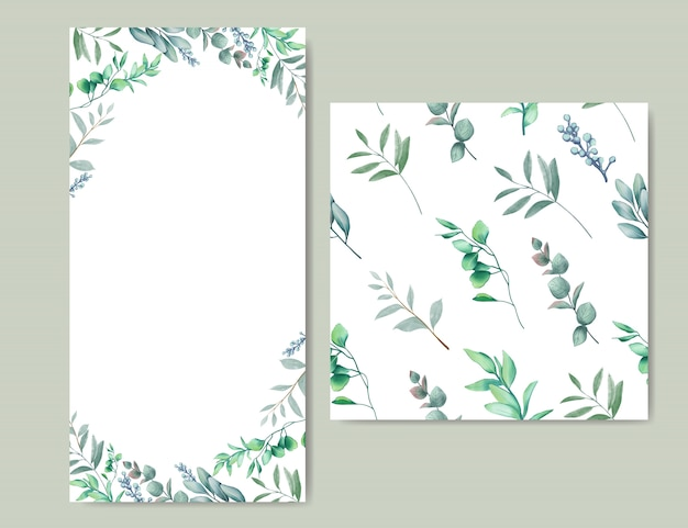 Elegant wedding invitation with leaves background & seamless