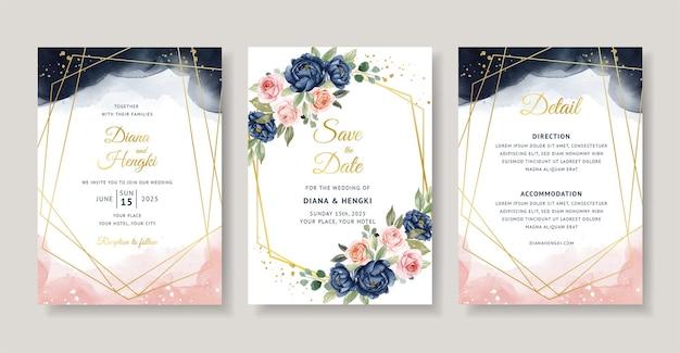 ネイビーとピーチの花の水彩画とエレガントな結婚式の招待状