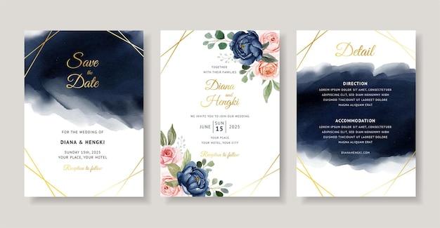 ネイビーの花の水彩画とエレガントな結婚式の招待状