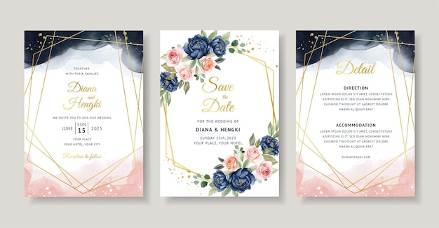 Elegant wedding invitation with navy and peach floral watercolor