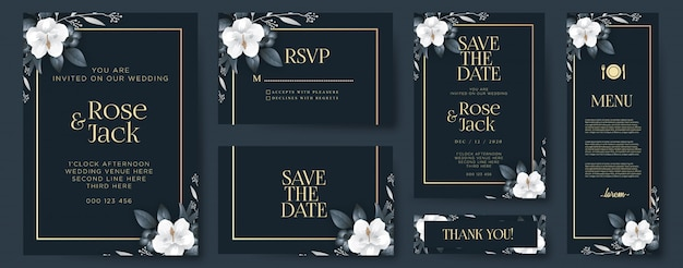Elegant wedding invitation with ornaments