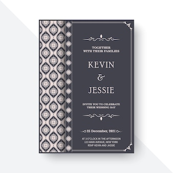 Elegant wedding invitation with pattern motif