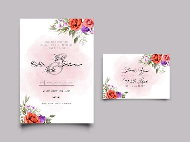 赤いバラのイラストとエレガントな結婚式の招待状