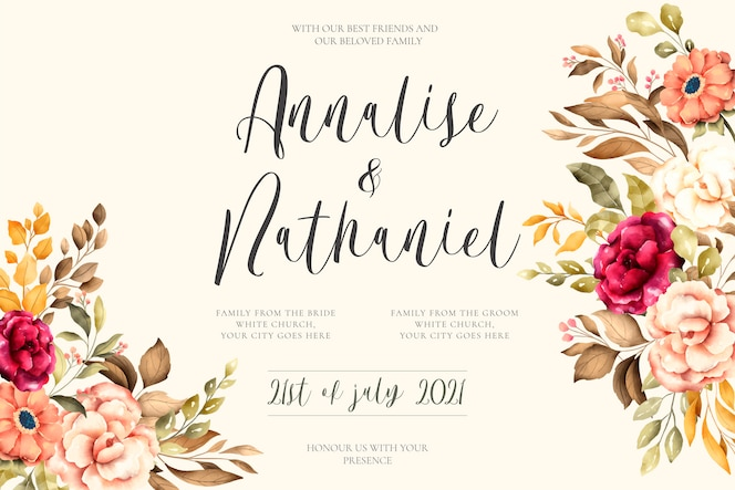 Elegant wedding invitation with vintage flowers