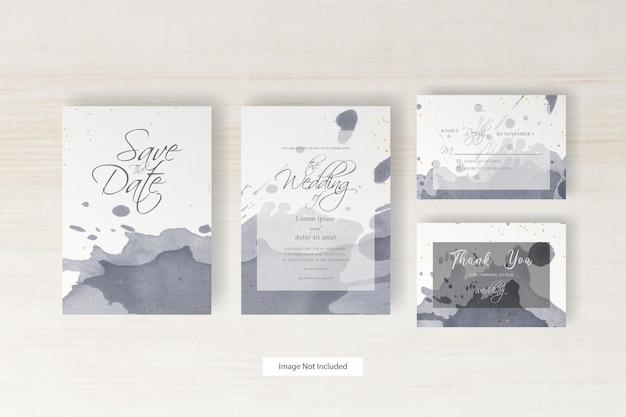 水彩とスプラッシュとエレガントな結婚式の招待状