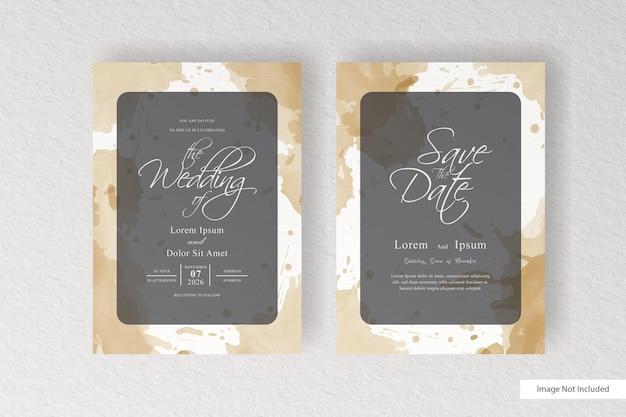 水彩画の背景とスプラッシュとエレガントな結婚式の招待状