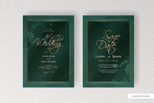Elegant wedding invitation with watercolor background and splash