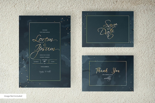 Elegant wedding invitation with watercolor background and splash