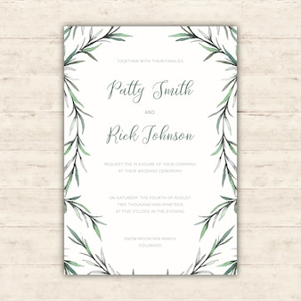 Elegant wedding invitation with watercolor botanical illustrations