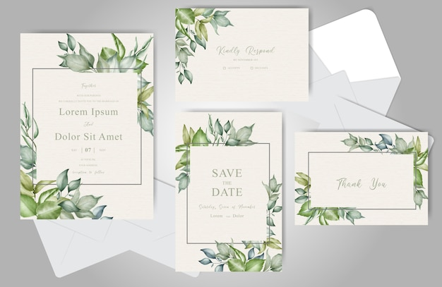 Elegant wedding invitation with watercolor and floral arrangement
