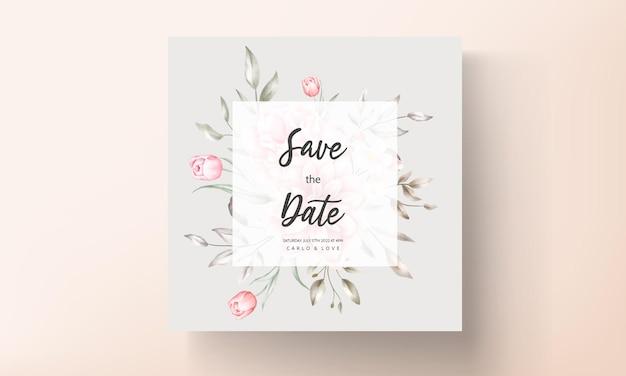 Elegante invito a nozze con motivi floreali ad acquerello