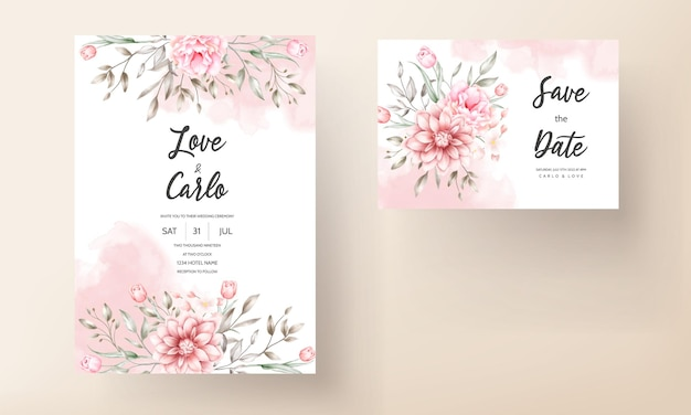 Элегантное свадебное приглашение с акварельными цветочными мотивами