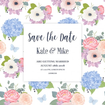 Elegant wedding invitation with watercolor flowers