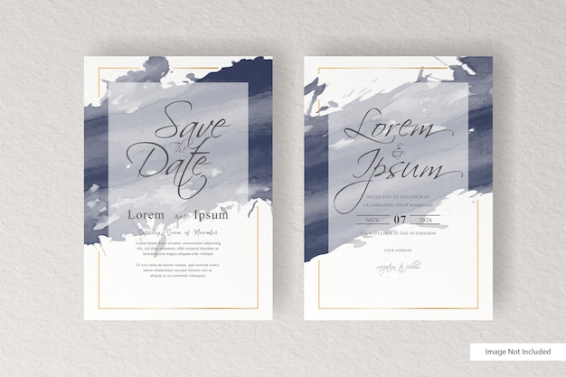 Elegant wedding invitation with watercolor and splash