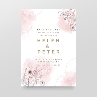 Elegant wedding invitation with watercolor stains and flowers