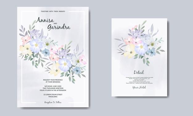 Colouful 꽃과 잎으로 우아한 청첩장 카드 템플릿