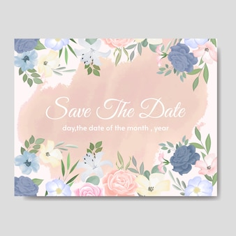 Elegant wedding invitations card template with colouful floral and leaves