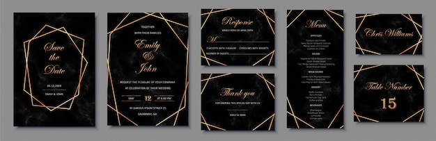 Elegant wedding invitations set with golden geometric frames and and black marble texture.