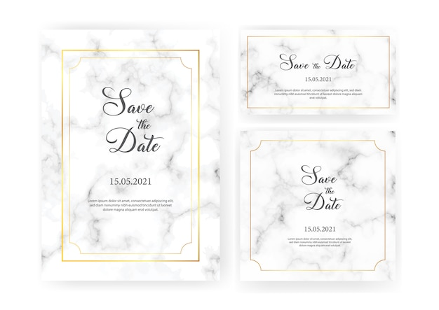 Elegant wedding invitations set with golden geometric frames and gray marble texture. luxury invitation collection with save the date, rsvp, menu, table number and name card