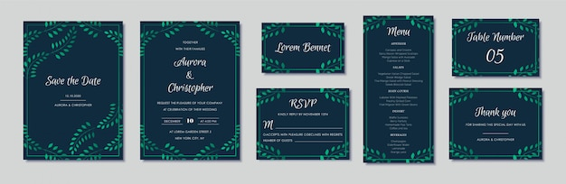Elegant wedding invitations set with green floral motives and navy blue