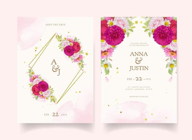 Partecipazioni di nozze eleganti con fiori acquerelli rosa scuro