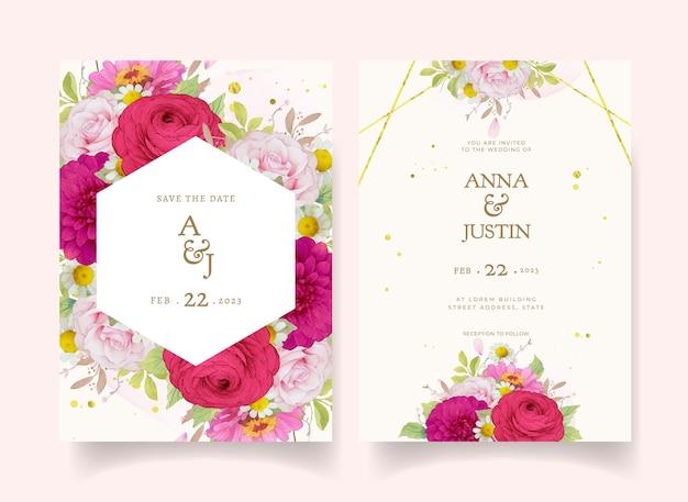 濃いピンクの水彩花とエレガントな結婚式の招待状