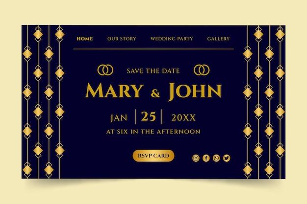 Elegante modello di pagina di destinazione del matrimonio