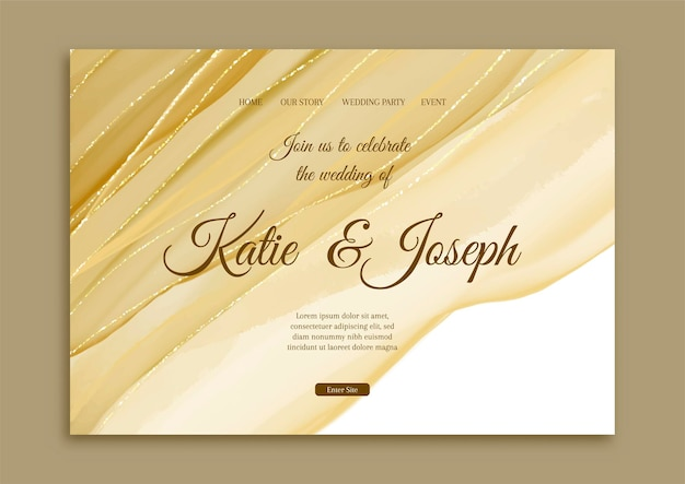 Elegant wedding landing page with hand painted gold design