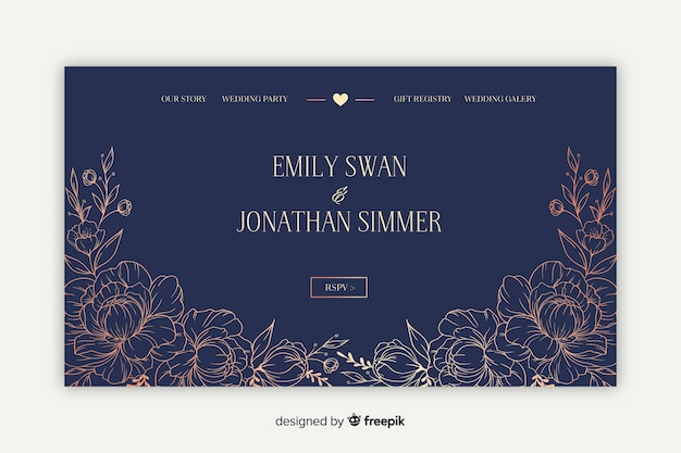 Elegant wedding landing page
